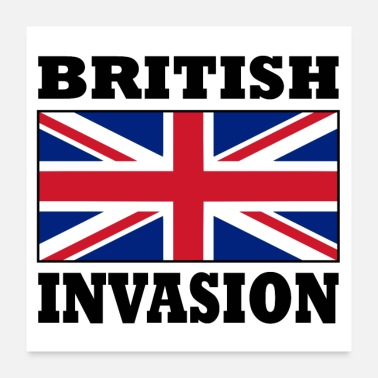 Popular British Invasion with Union Jack Flag Poster - Poster 24x24
