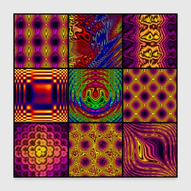 9 Panel Square Collage of Computer Art - Poster 24x24