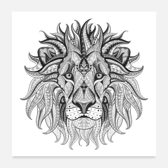 Travel Posters - Ethnic Tribal Lion BW - Posters white