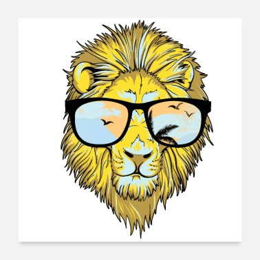 Sunglasses Hipster Lion Sunglasses - Poster