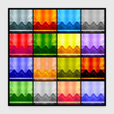 Cube Multi-Color Panel 16 Waves/Mountains/Sky - Poster 24x24