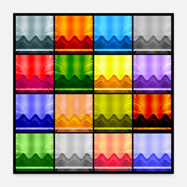 Geometry Multi-Color Panel 16 Waves/Mountains/Sky - Poster 24x24