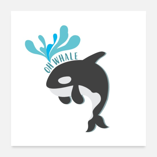Nature Posters - Animal Orca Swim Fish Whale Gift Idea - Posters white