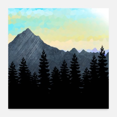 Silhouette Forest Silhouette and Mountain Range Design. - Poster 24x24