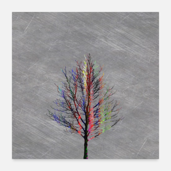 Abstract Posters - Modern Colorful Tree Silhouette Design. - Posters white