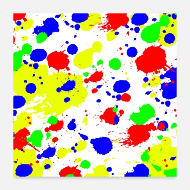 Funky Simple Colorful paint Splatter Pattern. - Poster 24x24