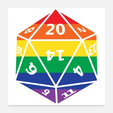 Dice Rainbow D20 Dungeons Dragons - Poster 24x24