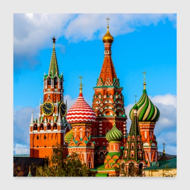 Moscow Kremlin and St. Basil Cathedral - Poster 24x24