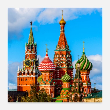 Against Moscow Kremlin and St. Basil Cathedral - Poster 24x24
