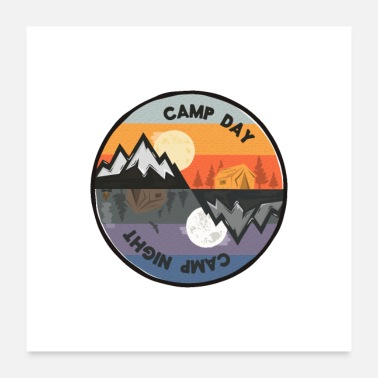 Funny Camping Camp Day - Camp Night - Poster