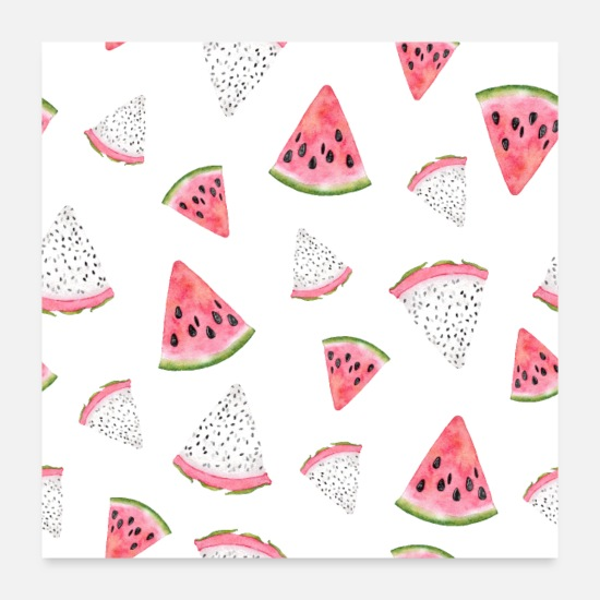 Favorite Stuff Posters - Dragon fruit Pitaya Pitahaya Watermelon Fruit - Posters white