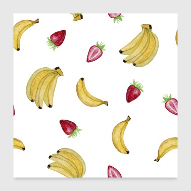 Banana and Strawberry Fruit Shirt - Poster 24x24