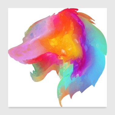 Wolf multi color - Poster 24x24