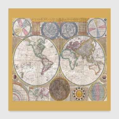 Shop globe world map gifts online spreadshirt antique world map globe print poster 24x24 freerunsca Image collections