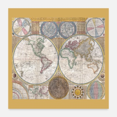 World Antique World Map Globe Print - Poster