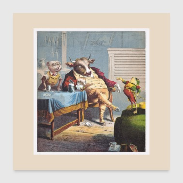 Antique Print of Ox Dog and Frog - Poster 24x24