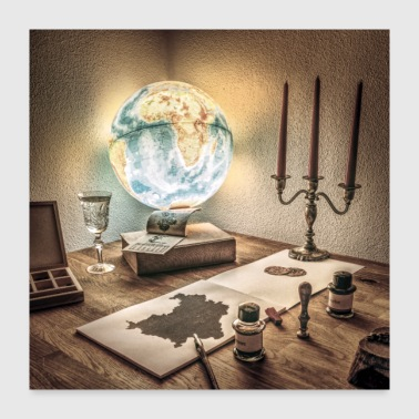 Rustic Scene Globe Antique Candles Maps Ink - Poster 24x24