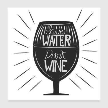 Water Sports Save Water Trink Wine - Poster 24x24