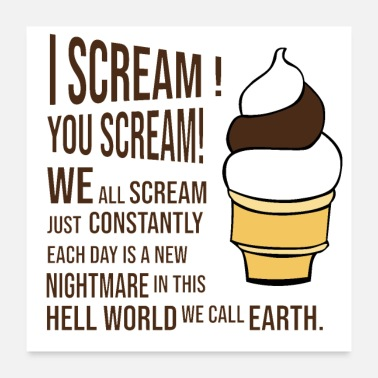 Smore Or I Scream Funny Ice Cream Summer Say Ice Cream Gift - Poster