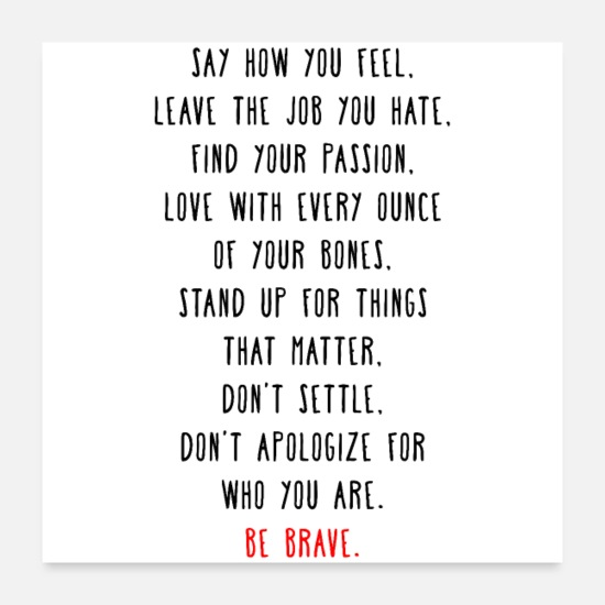 Motivational Posters - Be Brave - Posters white