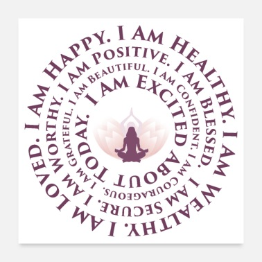 Lotus Flower Lotus Yoga I Am Mantra | Positive Vibes - Poster
