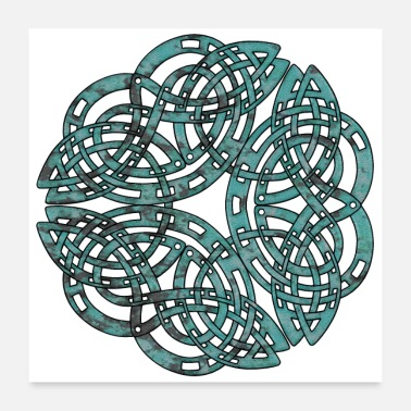 Techno Distressed Metal Celtic Design - Poster 24x24