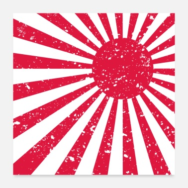 Japan Scuffed Japan flag Rising Sun - gift idea - Poster