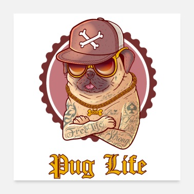 Funny Collection PUGLIFE - FUNNY PUG - Poster 24x24