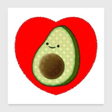 Cute Avocado In Red Heart Drawing - Poster 24x24