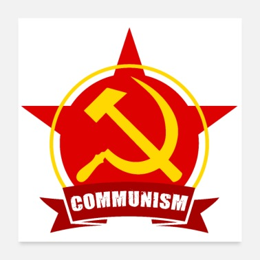 Hammer Communism Red Army Star Banner Badge Hammer Sickle - Poster 24x24
