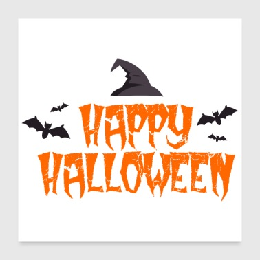 Witch Happy Halloween Bats witch hat - gift idea - Poster 24x24