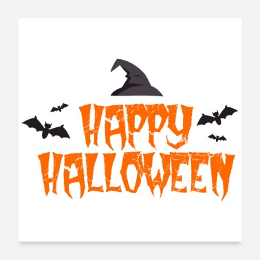 Invitation Happy Halloween Bats witch hat - gift idea - Poster