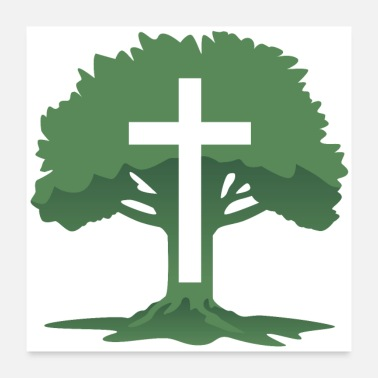 Cross Christian Cross with Tree of Life - Poster