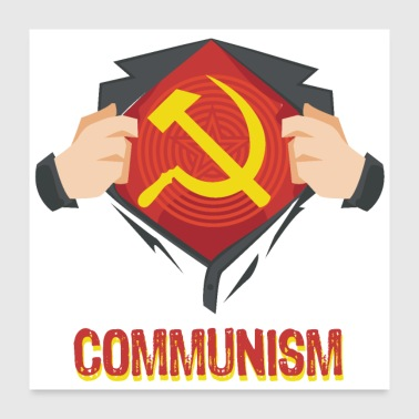 Russian Communism Superhero Hammer Sickle Red USSR - Gift - Poster 24x24