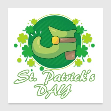 St. Patricks Day boots lucky leaves - gift idea - Poster 24x24
