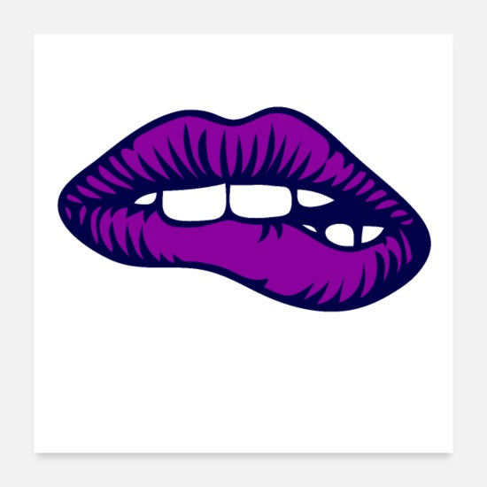 Lip Posters - Purple Lips - Posters white