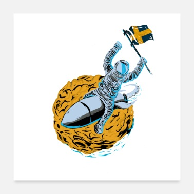 Sweden Astronaut Space Flag Sweden - Poster