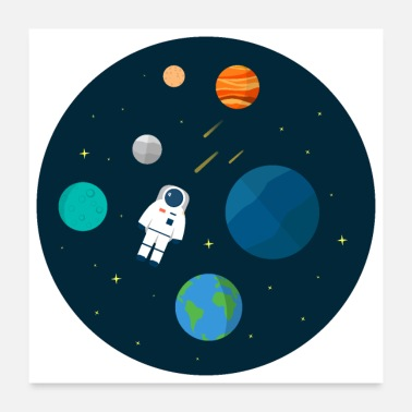 Green Planet Flat Design Astronaut Cosmic Space Planets SciFi - Poster