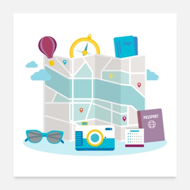 Map Flat Design Travel Map Passport Sunglasses Camera - Poster 24x24