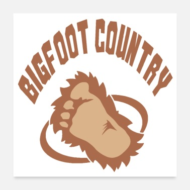 Country Bigfoot Country Brown Logo Design - Poster 24x24