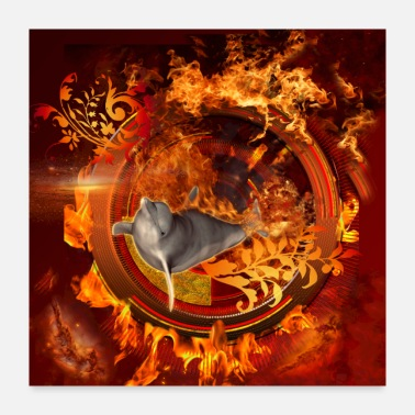 Ball Dolphin jumping by a fire ball - Poster 24x24