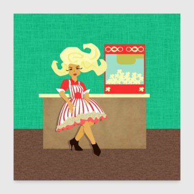 Movie Time! Woman Popcorn Vendor with Popcorn Mach - Poster 24x24