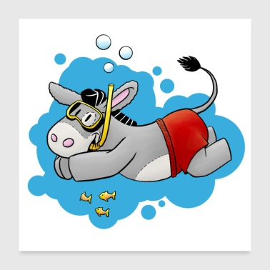 Fluffy donkey swimming - Poster 24x24