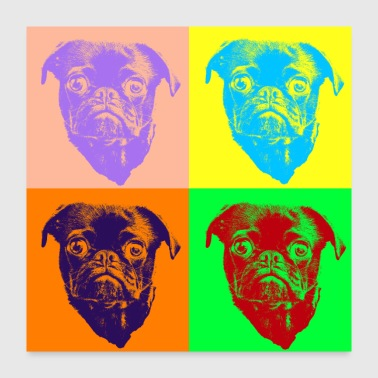 Different Pop Art Style Cute pug dog mops - Gift Idea - Poster 24x24