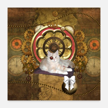 Clock Funny steampunk cat - Poster 24x24