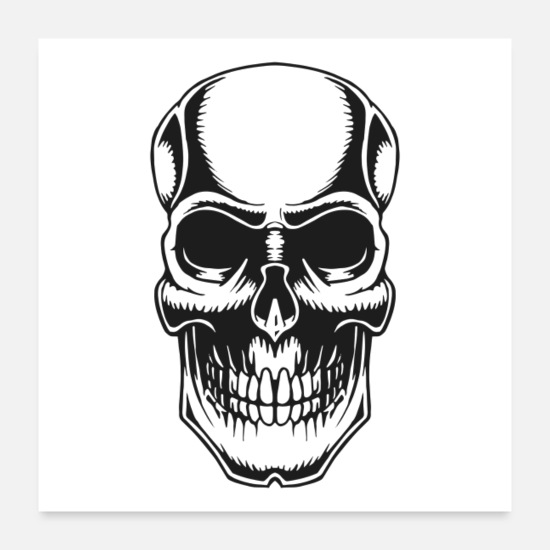 Skull And Bones Posters - Skull Vintage Tattoo - Posters white