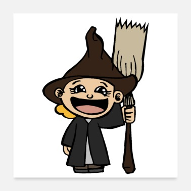 Meeting Halloween happpy Wizard Hat Broom laugh Gift Idea - Poster 24x24