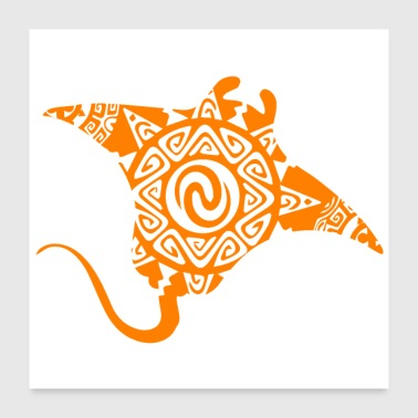 Maori Stingray Tattoo Tribal Swimming Orange - Poster 24x24