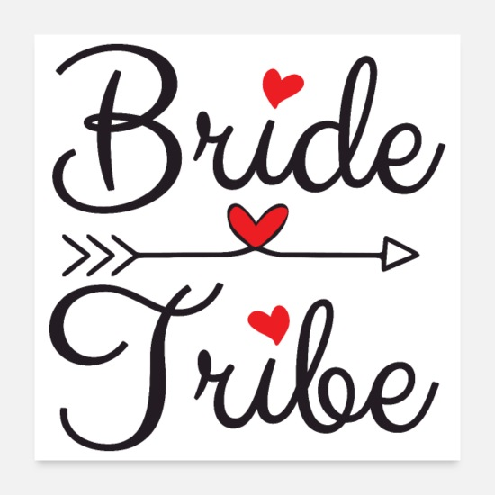 Bride Posters - Bachelorette Party Wedding Bride Tribe Heart Arrow - Posters white