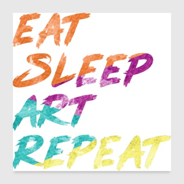 Sleeping eat sleep art repeat - Poster 24x24